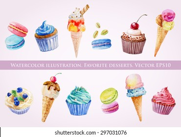 Set of illustrations of ice cream, muffins and macaroons. Watercolor painting. Vector elements for your design.