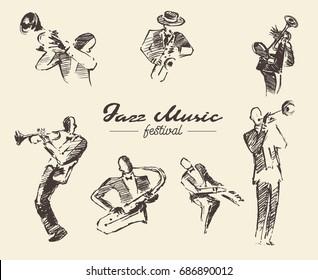 Set of illustrations of a jazz musicians, vintage hand drawn, sketch