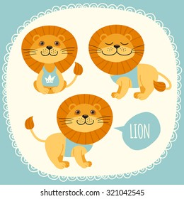 Set of illustrations with lions.