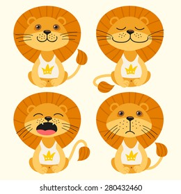 Set of illustrations with lions. Emotions.