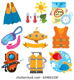 A set of illustrations on diving, tourism, sea travel and research. Elements for infographics.
