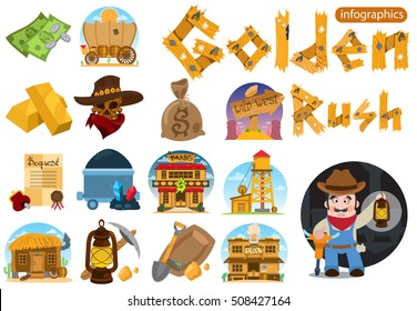 Set of illustrations on the theme of Goldfield. Wild West. Prospector.