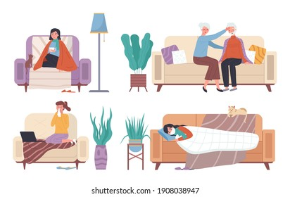 Set of illustrations on theme of spending time on self-isolation during illness. Wife puts her hand to husband's forehead to measure his temperature. Characters having cold and lying in bed