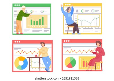 A set of illustrations on the topic of working with data graphs. People play games and do analytics. Girl in red dress sits with cards in her hands. Man happily raises his hands up. Data analysis
