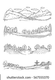 set of illustrations of panoramas: mountains, forest, farm, village