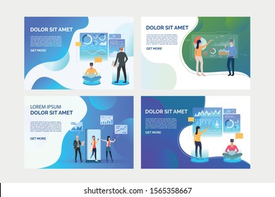 Set of illustrations with people working virtually. Development, optimization, teamwork. Flat vector. Virtual reality concept for banner, website design or landing web page