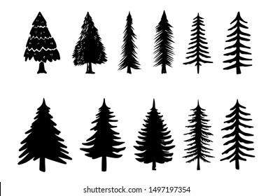 Set of illustrations of pine trees. Design element for poster, emblem, sign, logo, label. Vector illustration