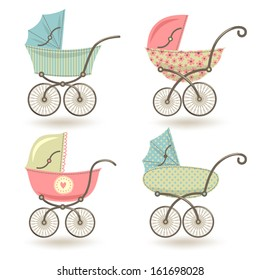 Set of illustrations with prams.