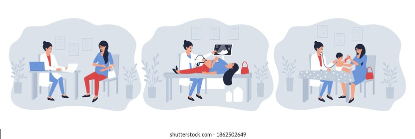 Set of illustrations with a pregnant woman visiting a doctor. The doctor performs an ultrasound examination of a pregnant patient. Mom and baby make a visit to the doctor. Flat vector illustration.