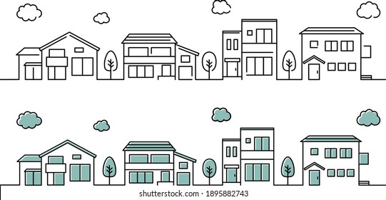 A set of illustrations of a simple house icon cityscape