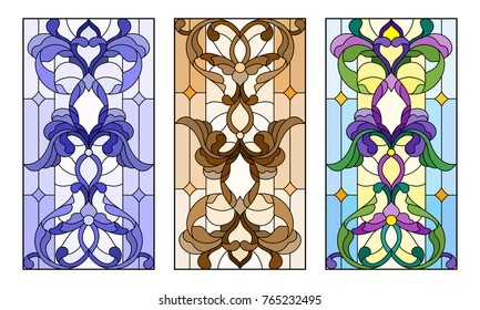 Set of illustrations of stained glass with abstract swirls and flowers , vertical orientation