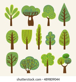 Set of illustrations with stylized trees.