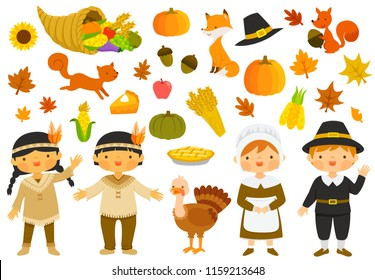 Set of illustrations for thanksgiving with characters and holiday symbols