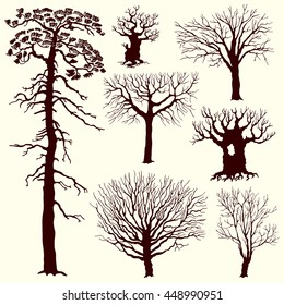 Set of illustrations with trees. Silhouettes