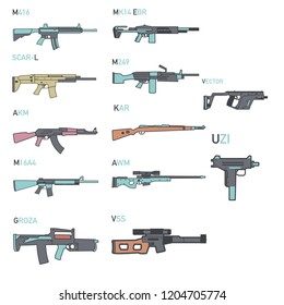 set of illustrations from various assault rifles,sniper rifles and Submachine gun