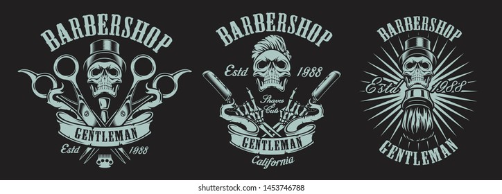 Set of illustrations in vintage style for a barber shop with skulls, scissors, a straight razor, ribbon on a dark background. Text and other elements in each illustration in separate groups.
