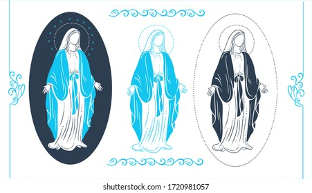 set of illustrations of the virgin mary as a design element for greeting cards