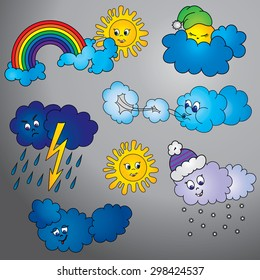 Set of illustrations for weather forecast