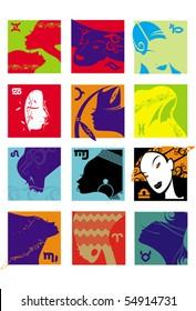 set of illustrations of women's fashion horoscope