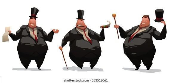 Set of image of fat and very rich business me in black costume. One stand and smoking a cigars. One standing and holding a contract. All they have overweight. vector illustrations