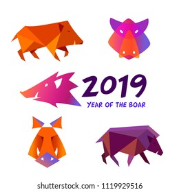 Set image silhouette wild pig, hog. Horoscope sign chinese earth boar. Happy new year party logo, sign, badge, insignia. Greeting card in 2019. Vector illustration.