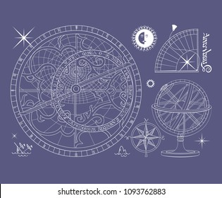 Set of images of ancient astronomical instruments