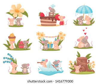 Set of images of cute humanized mice. Vector illustration on white background.