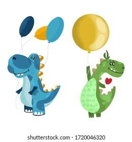 Set of images of cute little monster dinosaurs with balls. Art dinosaur monster for children's clothing. Vector illustration