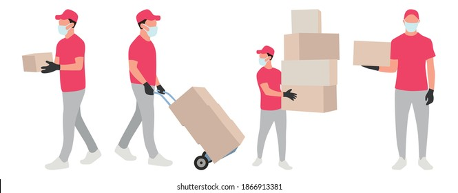 Set of images with a delivery man. Full-length courier with boxes. Delivery man carries boxes. Post office worker delivers parcels. Courier wearing a mask and gloves, delivery during quarantine.