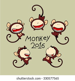 Set of images of funny kids #80, Monkey Zodiac sign