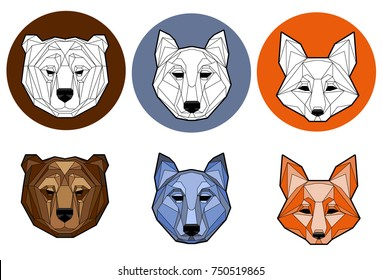 A set of images of heads of animals (Fox, bear, wolf). Polygon style. Logo. Mascot.