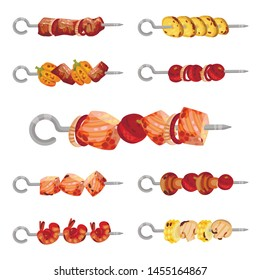 Set of images of kebabs on skewers. Vector illustration on white background.