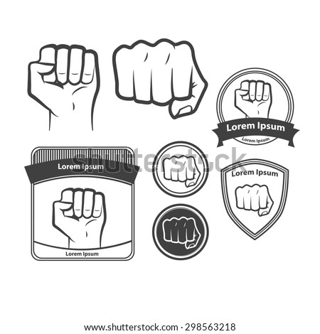 Set Images Logo Fist Icon Fist Stock Vector Royalty Free 298563218
