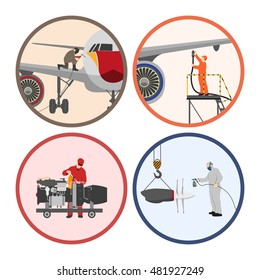 Set of images . Mechanic repairing an airplane. Repair and maintenance of aircraft. Vector illustration