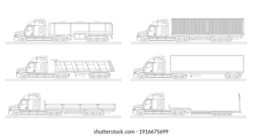 A set of images of a modern American truck with different variants of semi-trailers. Excursion. Side view.