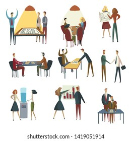 Set of images of office workers. Vector illustration on white background.