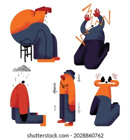 A set of images of people with mental disorders. People in different positions experience melancholy, social pressure, depression, stress. Metaphorical depiction of psychological problems. Vector.