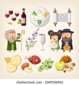 Set of images related to Passover or Pesach holiday. Traditional food, people and elements for creating holiday invitations, cards, posters and greetings. Isolated vector images.
