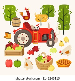 Set of images representing rural scene. Picking up apples at harvest time. Vector illustrations