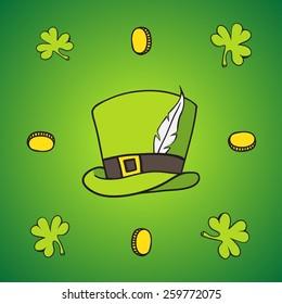 set of images of St. Patrick , gold , beer , clover , hat