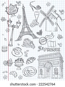 Set of images of various attractions, Paris, France. Black contour