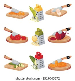 Set Of Images With Vegetables Chopped With A Knife And Grated. Vector Illustrations On A White Background