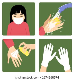 Set of images with a woman showing rules to prevent coronavirus spreading: wear medical mask, wash hands, use antiseptic and gloves. Vector image, eps10