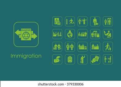 Set of immigration simple icons