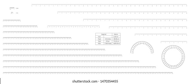 Set of imperial and metric units measuring scale bars for ruler and protractor.