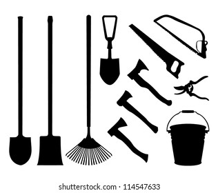 Set of implements. Contour collection of instruments. Black isolated silhouettes of garden tools. Shovel, spade, axe, saw, handsaw, bucket, pail, rake garden shears