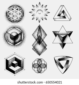 Set of impossible and other tattoo shapes, dotwork, blackwork all made of dots. Geometrical, sacred figures stars and cubes.