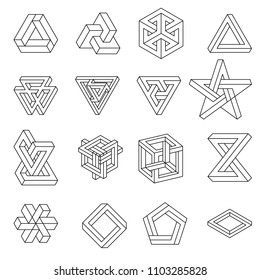 Set of impossible shapes. Optical Illusion. Vector Illustration isolated on white. Sacred geometry. Black lines on a white background
