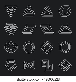 Set of impossible shapes. Optical Illusion. Vector Illustration isolated on white