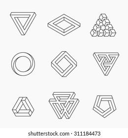 Set of impossible shapes, vector, line design